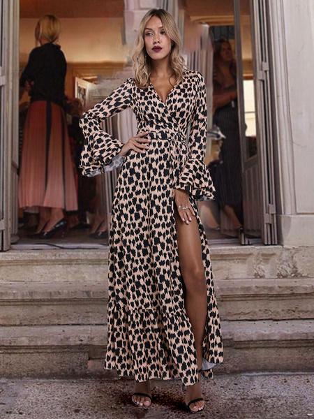 new photos huge selection of new lifestyle Maxi Dress Leopard Print Split Long Sleeve Sash Sexy Dress - Power ...