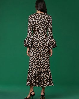 Maxi Dress Leopard Print Split Long Sleeve Sash Sexy Dress