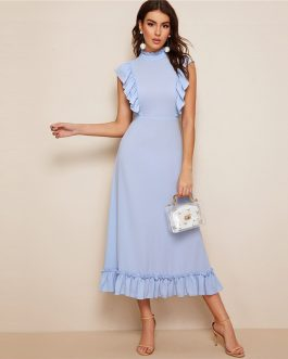 Mock-Neck Ruffle Trim Fit And Flare Dress