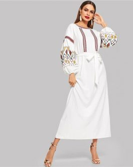 Multicolor High Waist Belted Bishop Sleeve Long Dress
