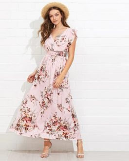 Multicolor Ruffle Embellished Shirred Waist Floral Maxi Dress