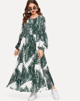 Multicolor Tropical Print Bishop Sleeve Smock Dress