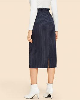Navy Frilled Waist Elastic Striped Straight Skirt