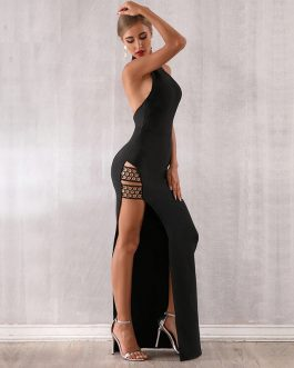 New Bandage Sexy Sleeveless Halter Celebrity Maxi Club Dress