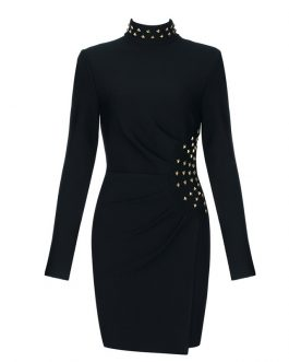 New Long Sleeve Beading Bodycon Mini Club Dress