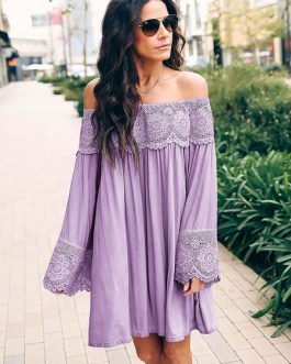 Off The Shoulder Lace Patch Long Sleeve Mini Dress