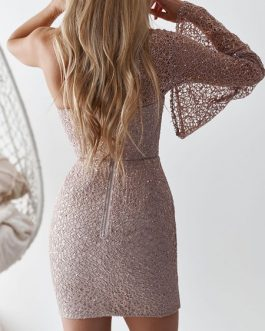 One Shoulder Long Sleeves Glitter Mini Dress