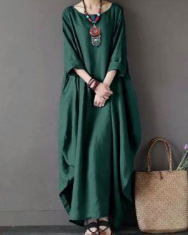 Oversized Batwing Sleeve Scoop Neck Maxi Dress