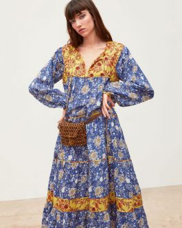 Oversized Long Sleeves Printed Maxi Dress