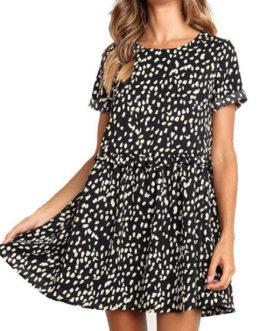 Oversized Shift Short Sleeve Printed Tunic Dresses