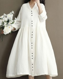 Oversized Shift Long Sleeve V Neck Buttons Long Dress