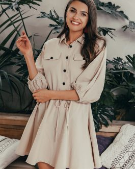 Oversized Sleeved Cotton Linen Mini Dress