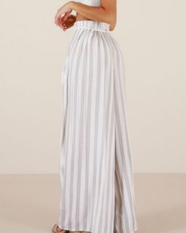 Palazzo Pants Wide Leg Pants White Striped High Waisted Pants For Women
