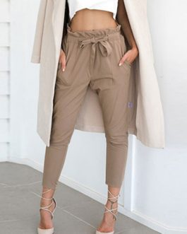 Paper Bag Pants Women Grey Drawstring Cropped Pants