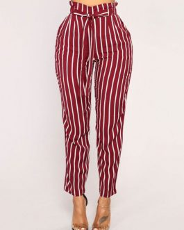 Paper Bag Pants Women Striped High Waist Cropped Trousers