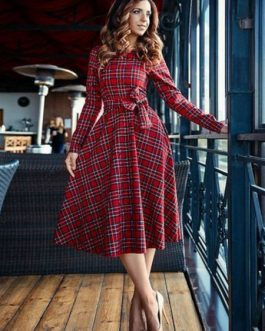Plaid Vintage Round Neck Bows Swing Midi Dress