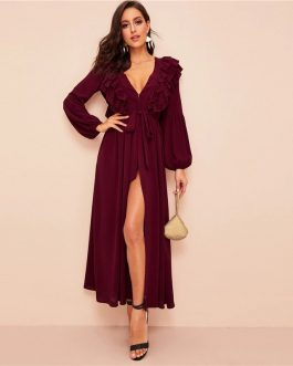 Plunging Neck Layered Ruffle Trim Belted Abaya Dress