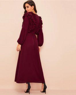 Plunging Neck Layered Ruffle Trim Belted Abaya Dress