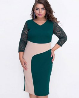Plus Size Bodycon Lace Patchwork Casual Dress