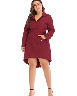 Plus Size Long Sleeve Buttons Shirt Dress
