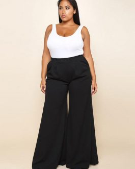 Plus Size Pants Black Split Wide Leg Long Pants