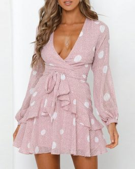 Polka Dot Sexy Deep V Wrap Party Dresses
