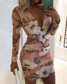 Printed V Neck Long Sleeves Mini Dress