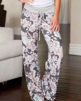 Pajama Lounge Pants Women Floral Pants Drawstring Grey Palazzo Pants