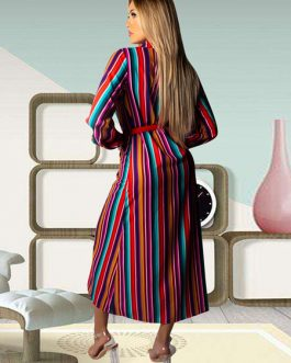 Rainbow Stripe Turndown Collar Pockets Maxi Dress