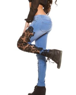Ripped Cut Out Lace Skinny Denim Jeans For Women
