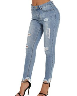 Ripped Distressed Skinny Denim Pants For Women