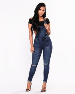 Ripped Hole Stretch Rompers Jumpsuit Jeans