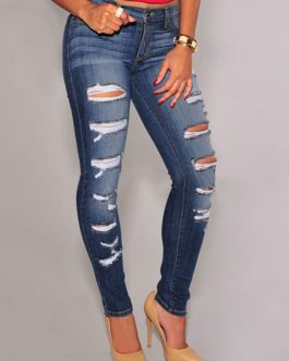 Ripped Jeans Deep Blue Denim Jeans For Women