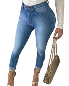 Ripped Distressed Denim Pants For Women