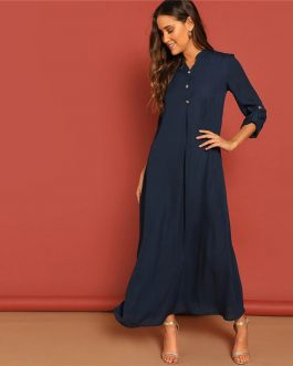 Rolled Tab Sleeve Round Neck Button Front Long Sleeve Plain Dress