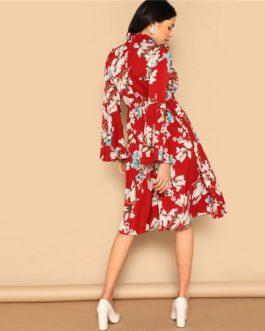 Ruffle Detail Bell Sleeve Red Dress Flower Print