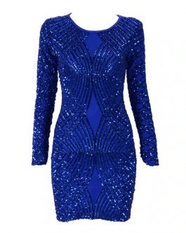 Sequins O-Neck Long Sleeve Sexy bodycon Party Dress