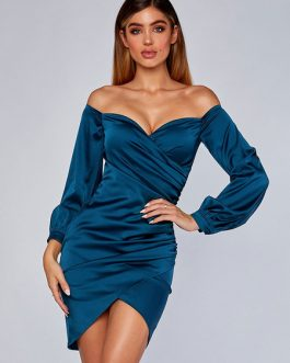 Off The Shoulder Split Long Sleeves Pencil Dress