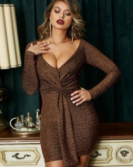 Sexy Bodycon Plunging Twisted Shaping Mini Dress