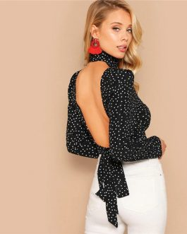 Sexy Bow Knot Open Back Polka Dot Print Crop Blouse