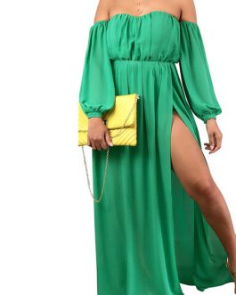 Sexy Cold Shoulder Split Front Long Sleeves Maxi Dresses
