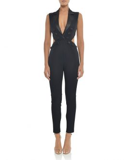 Sexy Deep V Neck Hollow Out Runway Party Jumpsuit