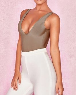 Sexy Deep V Neck Sleeveless Evening Party Bodycon Bodysuits