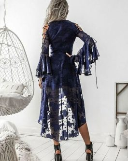 Sexy Lace V Neck Lace Up Jacquard Maxi Dress