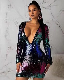 Sexy Long Sleeve Sequin Deep V Mini Club Dress