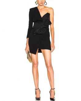 Sexy One Shoulder Deep V Celebrity Mini Bodycon Club Dress