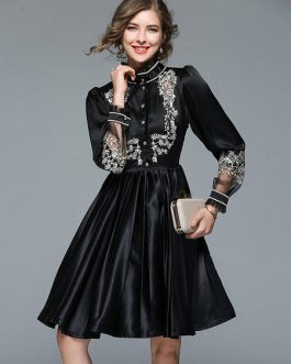 Shirt Dress Embroidered Long Sleeve Midi Dress