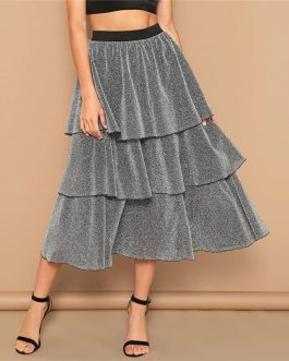 Silver Tiered Layer Ruffle Glitter Mid Waist Skirt