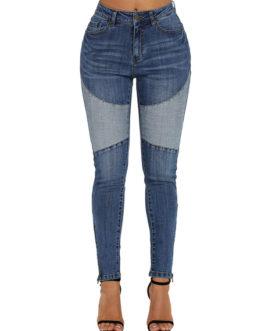 Skinny Zip Side Two Tone Women Denim Pants