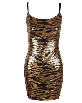 Spaghetti Strap Leopard Print Sexy Mini Club Dress